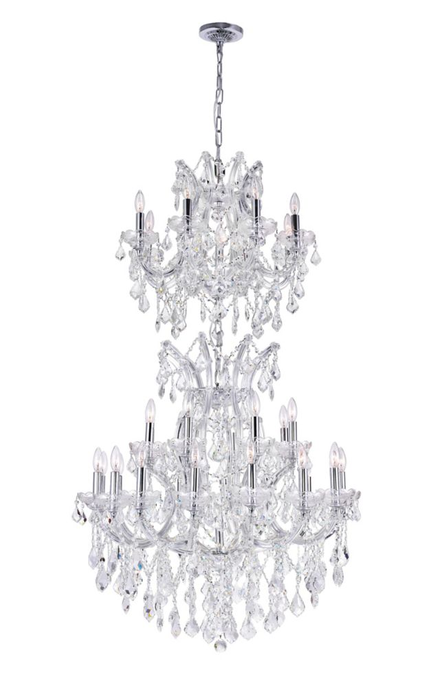CWI Lighting Maria Theresa 32 inch 34 Light Chandelier with Chrome Finish