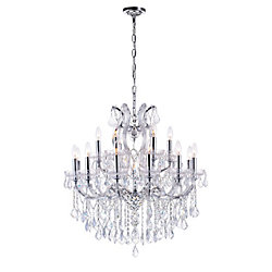 Maria Theresa 30 inch 19 Light Chandelier with Chrome Finish