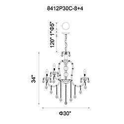 CWI Lighting Cher 30 inch 12 Light Chandelier with Chrome Finish