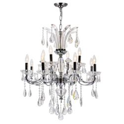 CWI Lighting Glorious 28 inch 12 Light Chandelier with Chrome Finish