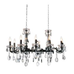 CWI Lighting Flawless 37 inch 10 Light Chandelier with Black Finish