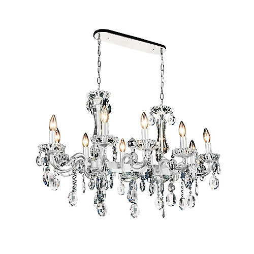 Flawless 37 inch 10 Light Chandelier with Pearl White Finish