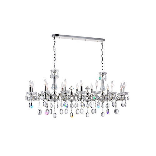 Flawless 54 inch 14 Light Chandelier with Silver Finish