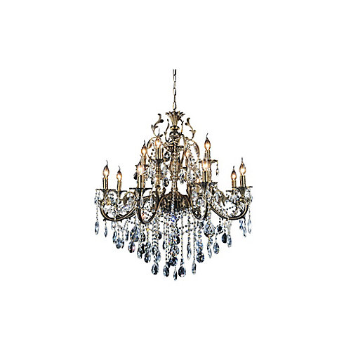 Brass 36-inch 12 Light Chandelier with Antique Brass Finish