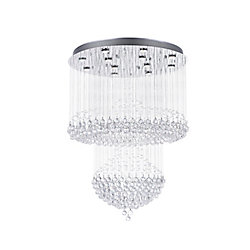 Waterfall 32 inch 12 Light Flush Mount with Chrome Finish