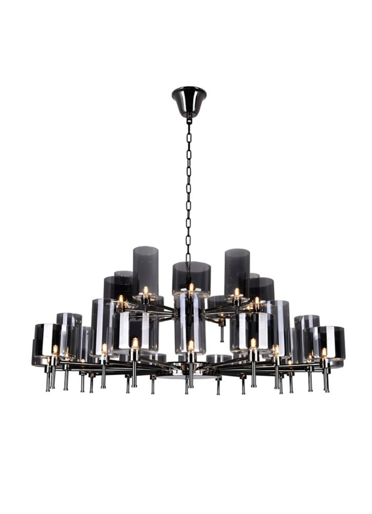 CWI Lighting Montoya 48 inch 30 Light Chandelier with Pearl Black Finish
