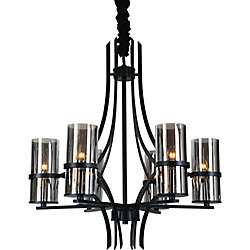 Vanna 27-inch 6 Light Chandelier with Black Finish