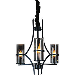 Vanna 22 inch 3 Light Chandelier with Black Finish