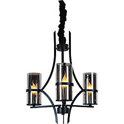 Vanna 22 inch 3 Light Chandelier with Black Finish