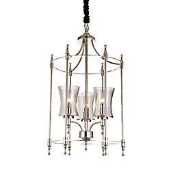 CWI Lighting London 17 inch 3 Light Chandelier with Satin Nickel Finish