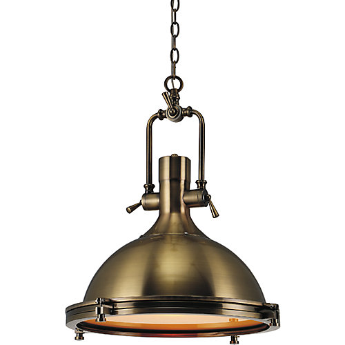 Show 16 inch 1 Light Chandelier with Antique Bronze Finish