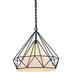 Diamond 15 inch 1 Light Chandelier with Black Finish