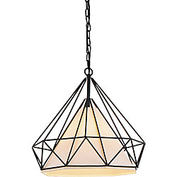 Diamond 18-inch 1-Light Chandelier with Black Finish