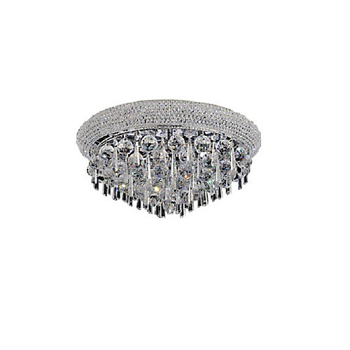 Kingdom 24 inch 9 Light Flush Mount with Chrome Finish