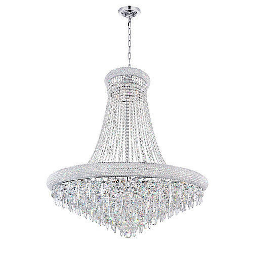 Kingdom 30 inch 18 Light Chandelier with Chrome Finish