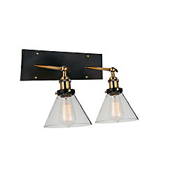 CWI Lighting Eustis 15 inch 2 Light Wall Sconce with Black and Gold Brass Finish