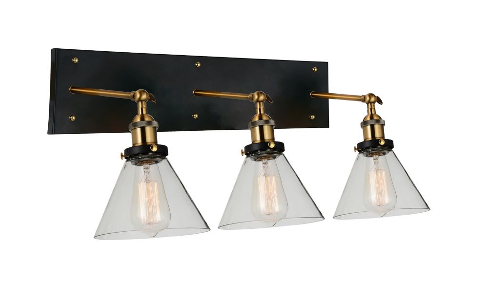 CWI Lighting Eustis 24 inch 3 Light Wall Sconce with Black and Gold Brass Finish