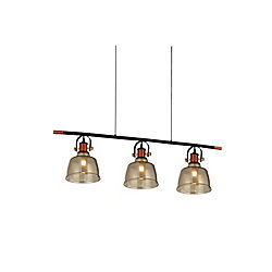Tower Bell 47 inch 3 Light Chandelier with Cognac Finish