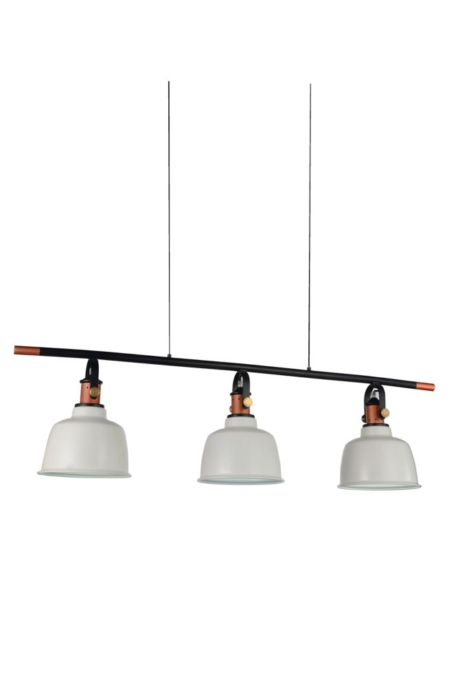 CWI Lighting Tower Bell 47 inch 3 Light Chandelier with White Finish