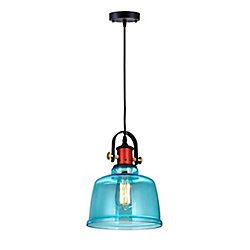CWI Lighting Tower Bell 9 inch 1 Light Mini Pendant with Blue Finish