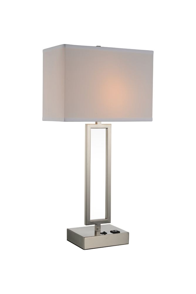CWI Lighting Torren 14 inch 1 Light Table Lamp with Satin Nickel Finish