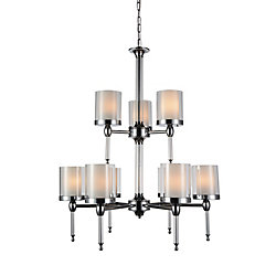 Maybelle 28 inch 9 Light Chandelier with Chrome Finish