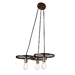 Ravi 25 inch 3 Light Chandelier with Black and Gold Finish