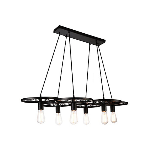 Ravi 24 inch 6 Light Chandelier with Black Finish