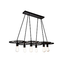Ravi 24 inch 6 Light Chandelier with Black Finish