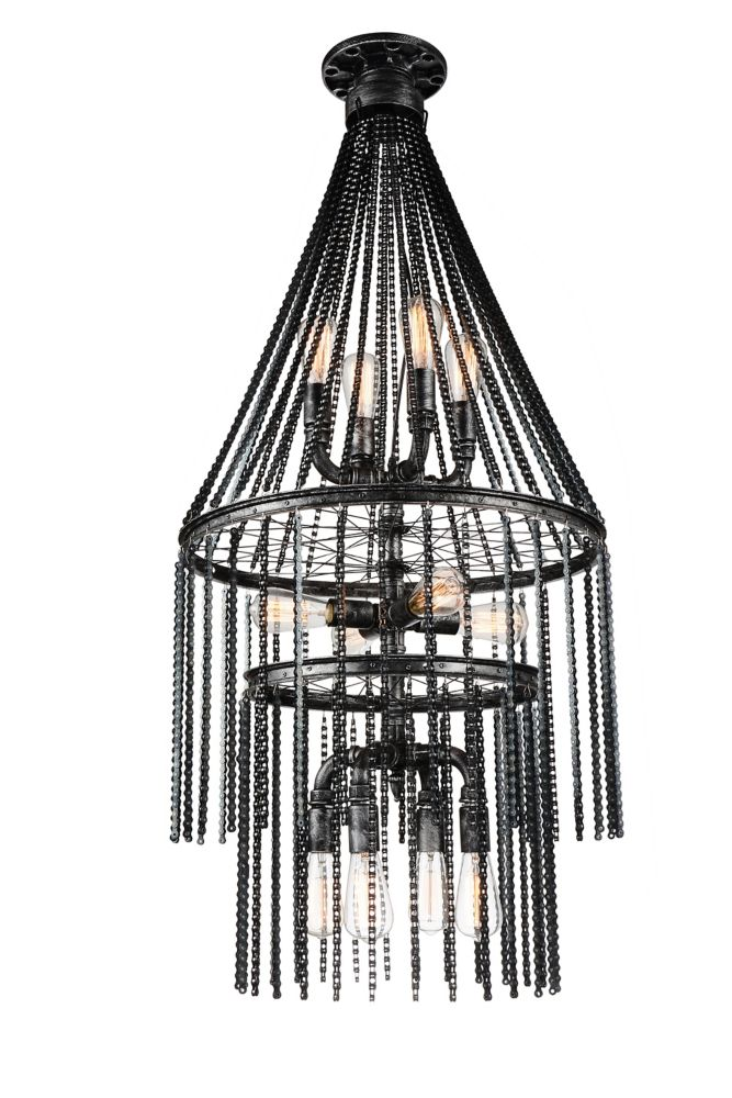 CWI Lighting Kala 24 inch 12 Light Chandelier with Gray Finish