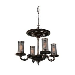 CWI Lighting Manchi 30 inch 4 Light Chandelier with Rust Finish