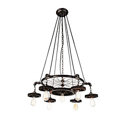 CWI Lighting Prado 35 inch 7 Light Chandelier with Blackened Copper Finish