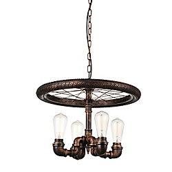 Union 20 inch 4 Light Chandelier with Blackened Copper Finish