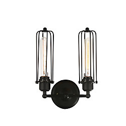 Benji 5 inch 2 Light Wall Sconce with Black Finish