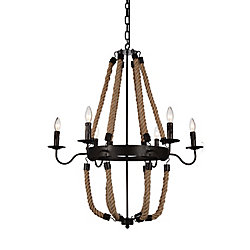 Dharla 37 inch 6 Light Chandelier with Rust Finish