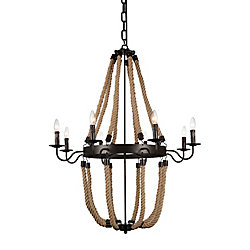 Dharla 36 inch 8 Light Chandelier with Rust Finish