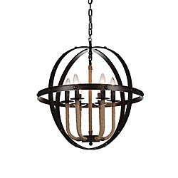 Surma 24 inch 6 Light Chandelier with Rust Finish