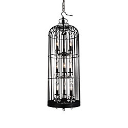 Vortex 16 inch 9 Light Chandelier with Black Finish