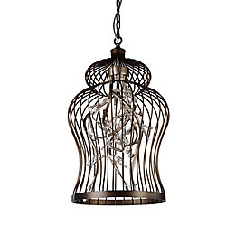 Molus 16 inch 6 Light Chandelier with Antique Gold Finish