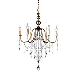 Pembina 25 inch 6 Light Chandelier with Speckled Nickel Finish
