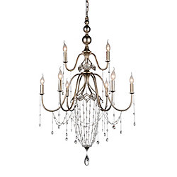 Pembina 31 inch 9 Light Chandelier with Speckled Nickel Finish