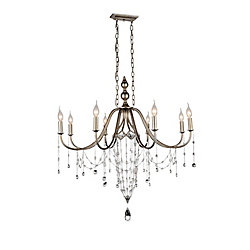 Pembina 36 inch 8 Light Chandelier with Speckled Nickel Finish