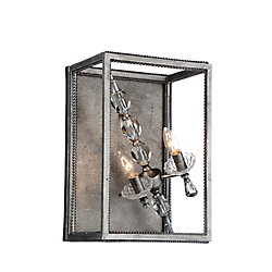 Tapi 9 inch 2 Light Wall Sconce with Luxor Silver Finish