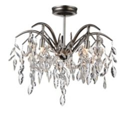 CWI Lighting Napan 21 inch 5 Light Flush Mount with Silver Mist Finish