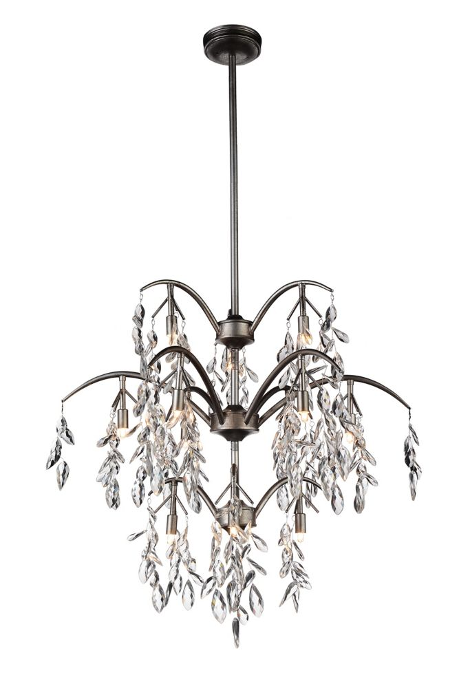 CWI Lighting Napan 28 inch 12 Light Chandelier with Silver Mist Finish