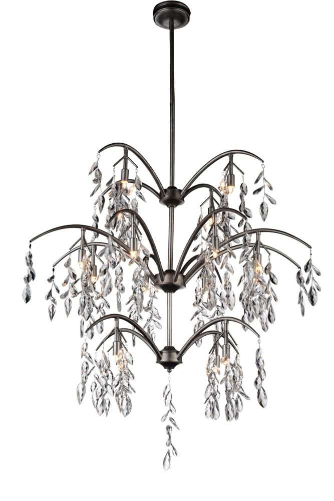 CWI Lighting Napan 36 inch 16 Light Chandelier with Silver Mist Finish