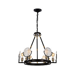 Bhima 24 inch 6 Light Chandelier with Brown Finish