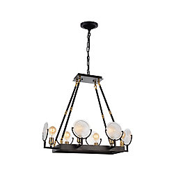 Bhima 28 inch 6 Light Chandelier with Brown Finish