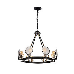 Bhima 30 inch 8 Light Chandelier with Brown Finish