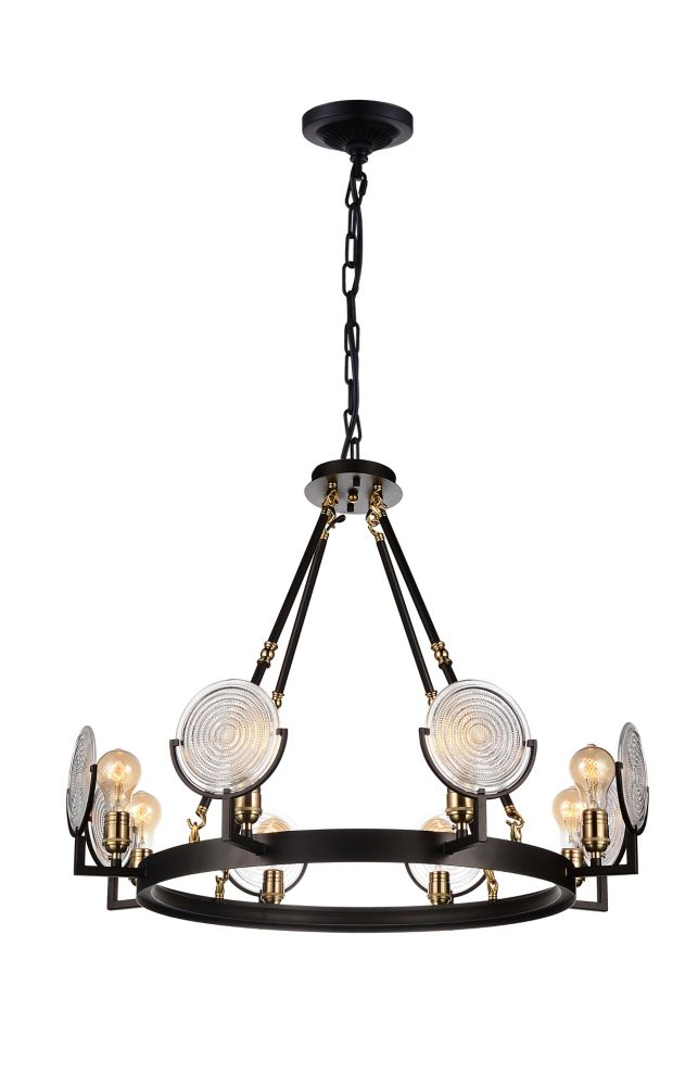 CWI Lighting Bhima 30 inch 8 Light Chandelier with Brown Finish